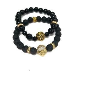 Lion &SKULL Head  Black Lava Beads Unisex Gemstone